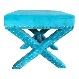 Turquoise Studded Velvet X Bench