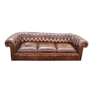 Vintage Chesterfield-Style Grand Leather Sofa