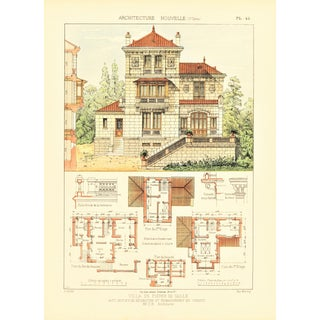 1900 French Villa Architectural Lithograph