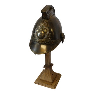 French Brass Fireman's Helmet on Wooden Stand