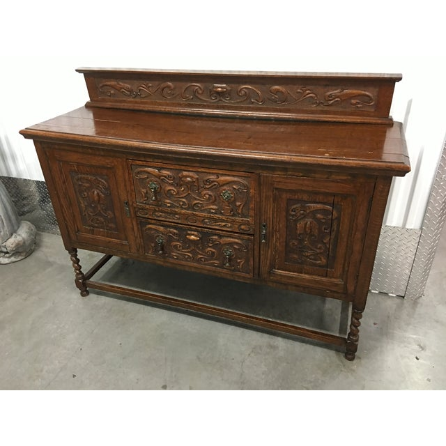 Antique Carved Wood Buffet - Image 4 of 10
