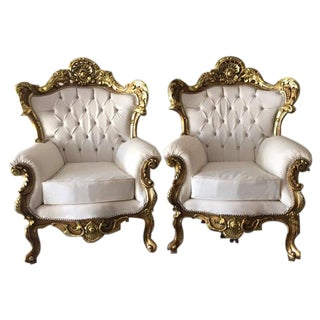 Italian Rococo Style Armchairs - A Pair