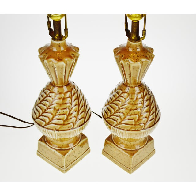 Vintage Ceramic Glazed Table Lamps - A Pair - Image 5 of 10
