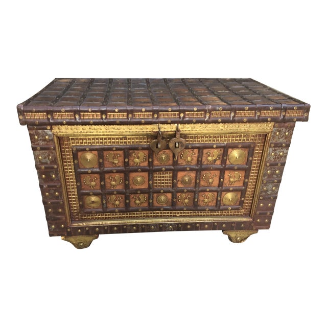 Exotic Chest Richly Adorned With Gleaming Brass Overlays on Copper - Image 1 of 6