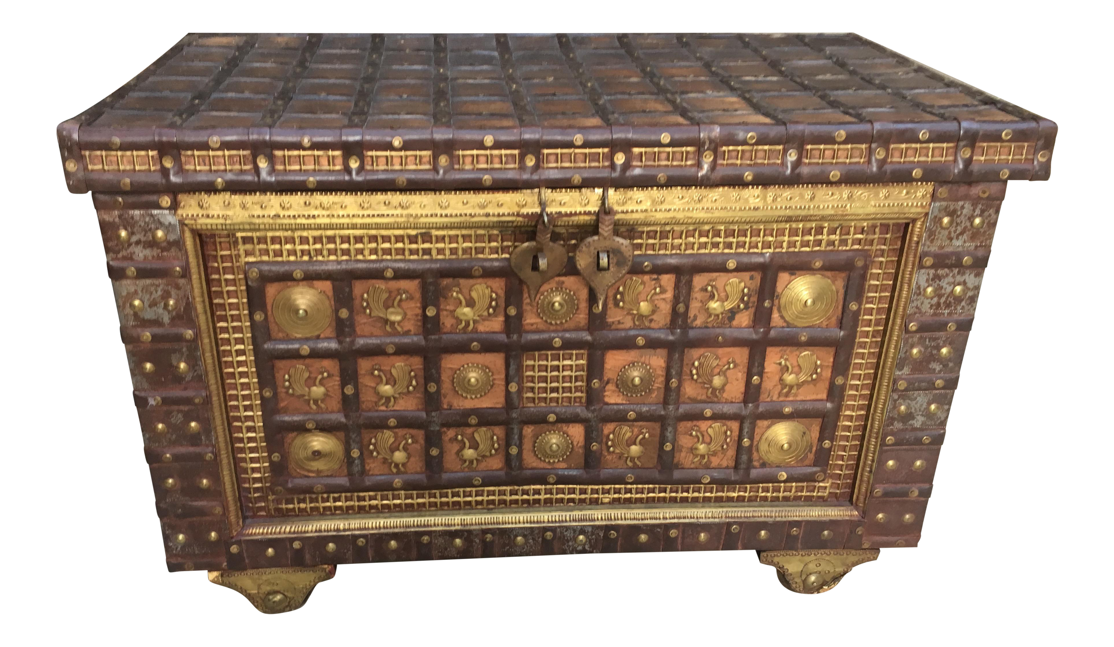 Exotic Chest Richly Adorned With Gleaming Brass Overlays On Copper