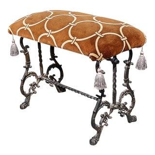 Art Deco Velvet Upholstered Cast Iron Bench