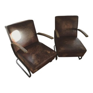 Brown Leather Armchairs - A Pair