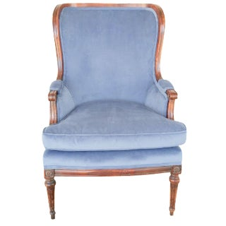 Bergere Blue Chair in Velveteen