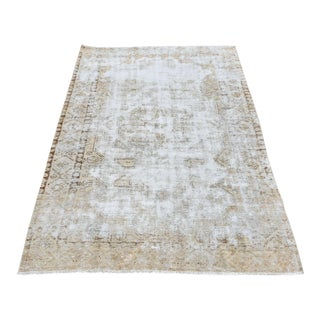 Distressed Antique Boho Chic Handwoven Beige Rug - 3′9″ × 7′6″