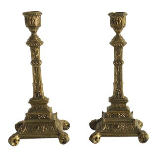 Vintage French Altar Candlesticks - A Pair
