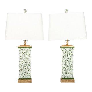 Art Deco Style Porcelain Table Lamps - A Pair