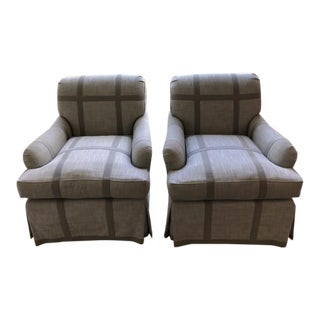 Gray Custom Upholstered Club Chairs - A Pair