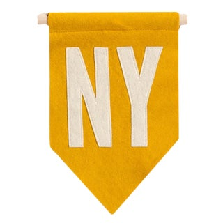 Mustard Yellow NY Felt Flag