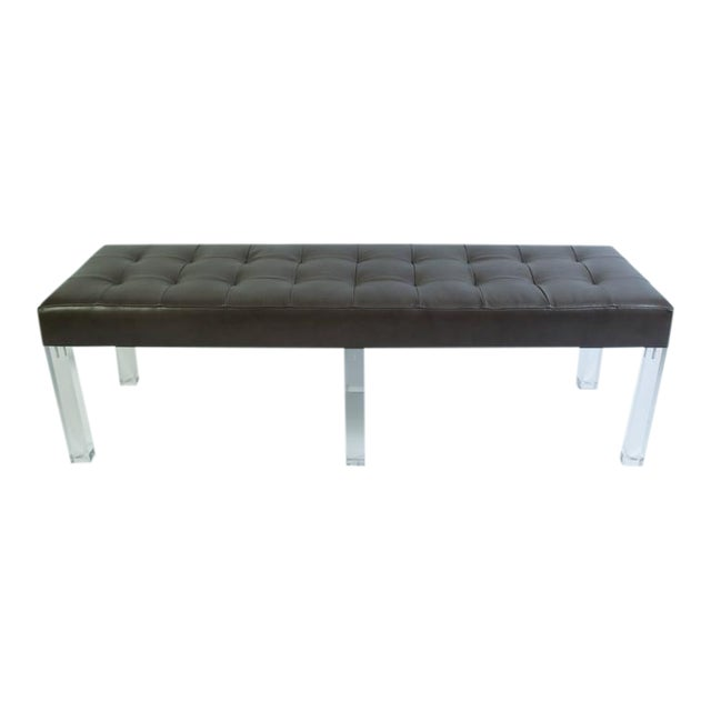 Lucite Prism Bench in Gunmetal Leather with Blind Tufting by Montage - Image 1 of 8