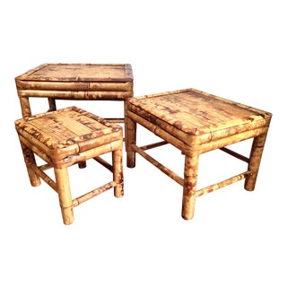 Vintage Tortoise Burnt Bamboo Nesting Stools - Set of 3