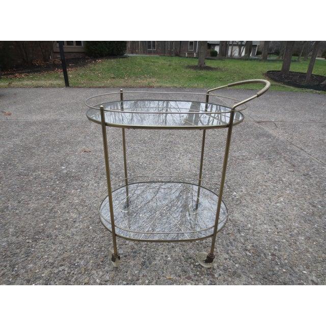 Vintage 1970s Brass & Glass Rolling Bar Cart - Image 2 of 6