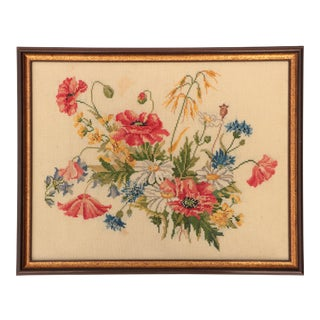 Vintage Danish Embroidery - Poppies and Wildflowers