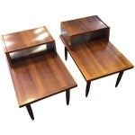 Image of Mid-Century Side Step End Tables - A Pair