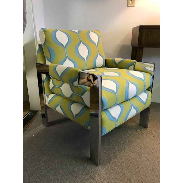Mid-Century Chrome Milo Baughman Style Chair - Image 7 of 7