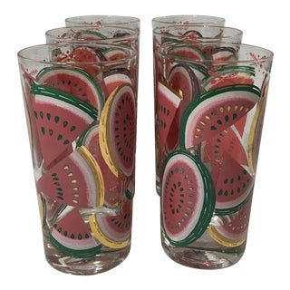 Vintage Watermelon and Gold Trim Tumblers - Set of 5