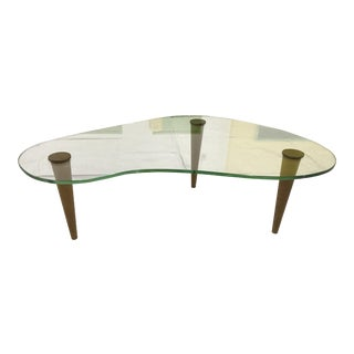 Gilbert Rohde Kidney Shaped Glass Coffee Table
