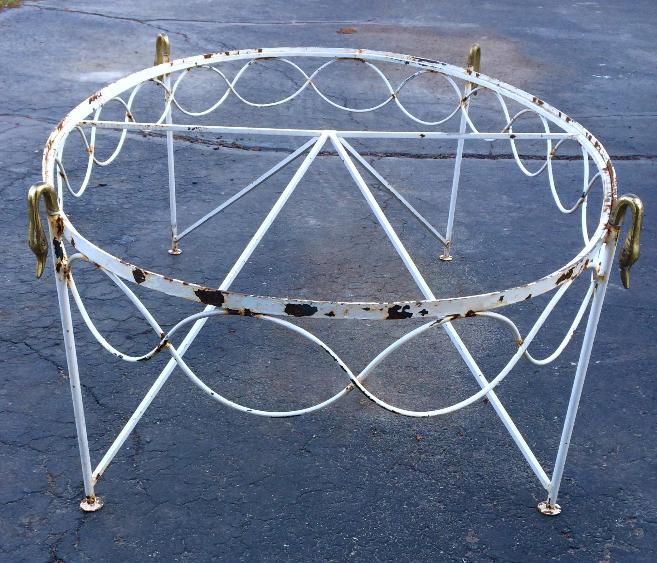 Eclectic Coffee Tables: Eclectic Brass And Iron Swan Head Coffee Table Or
