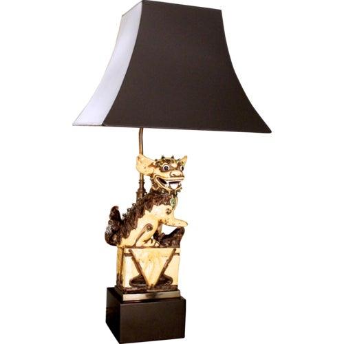 Chinese Yellow Glazed Ceramic Foo Dog Lamp - Image 9 of 9