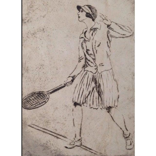 Image of 1930's Tennis Etchings Helen Moody Wills - A Pair