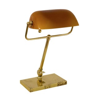 Mid-Century Desk Lamp with Amber Shade