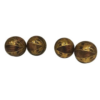 Brass & Wood Decorative Spheres - 4