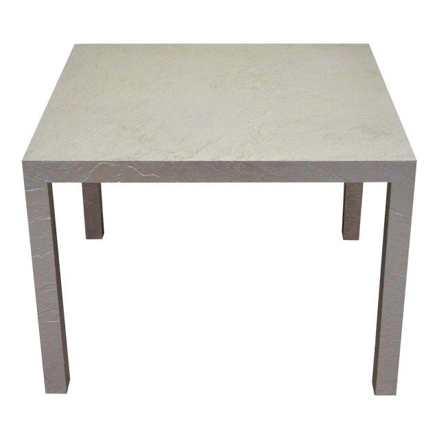 Vintage Mid Century Modern Silver Square Parsons Coffee Side Occasional Table - Image 1 of 3