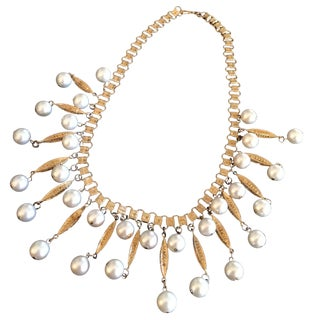 Vintage Coro Statement Pearl & Gold Leaf Necklace