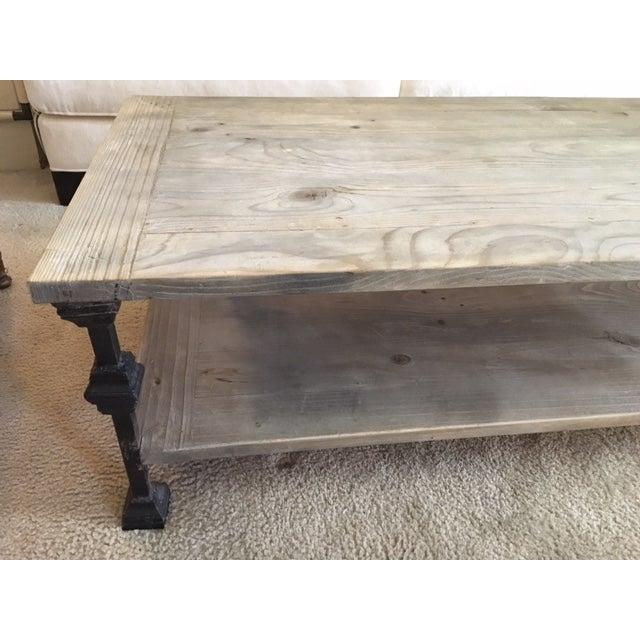 rustic gray wash wood iron coffee table chairish